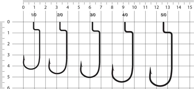 Таблица размеров офсетных крючков Eagle Claw L091