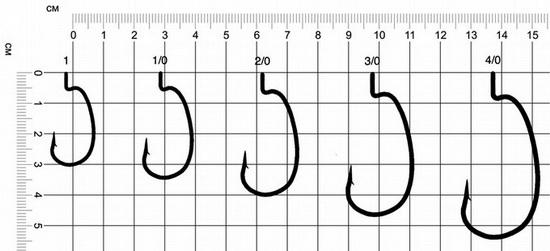 Таблица размеров офсетных крючков Eagle Claw L7013