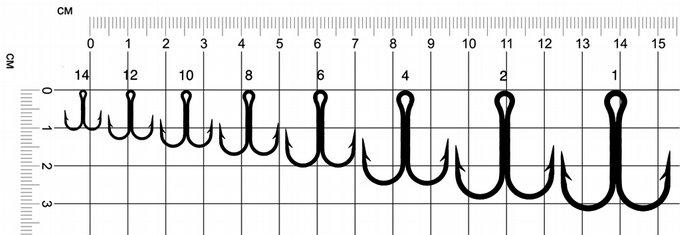 Таблица размеров двойных крючков Eagle Claw 274А