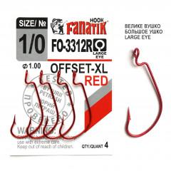 Офсетный крючок Fanatik FO-3312-XL Red №1/0 (4 шт.)