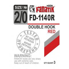 Двойной крючок Fanatik FD-1140 Red №2/0 (3 шт.)