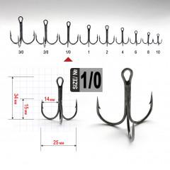 Тройной крючок Fanatik FT-1103 №1/0, 1 шт.