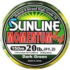 Плетёный шнур Sunline MOMENTUM 4x4 150m Dark Green #0.6/10lb