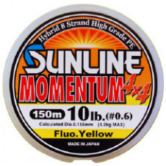 Плетёный шнур Sunline MOMENTUM 4x4 150m Fluo Yellow #0.6/10lb