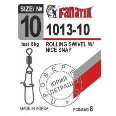 Застежка американка с вертлюгом Fanatik 1013-10 тест 8 кг, 7 шт.