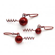 Свинец Fanatik Штопор гранёный груз с застежкой цвет Red, 14 гр (5 шт. в упаковке)