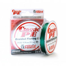 Шнур плетеный Fanatik Classic PE X4 100м #1.0 0.16мм 8.1кг Green
