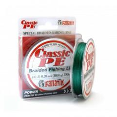 Шнур плетеный Fanatik Classic PE X4 100м #1.5 0.2мм 10.8кг Green