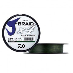 Плетеный шнур Daiwa J-Braid X4 Green 0.17mm/135m