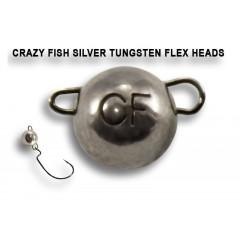 Вольфрамовая чебурашка Crazy Fish 1г цвет серебро 6шт.