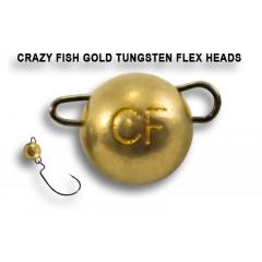 Вольфрамовая чебурашка Crazy Fish 1г цвет золото 6шт.