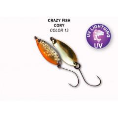 Колеблющаяся блесна Crazy Fish Cory 1.1 г #13