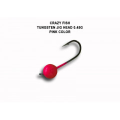Вольфрамовая джиг-головка Crazy Fish 0,45г цвет розовый 6шт.