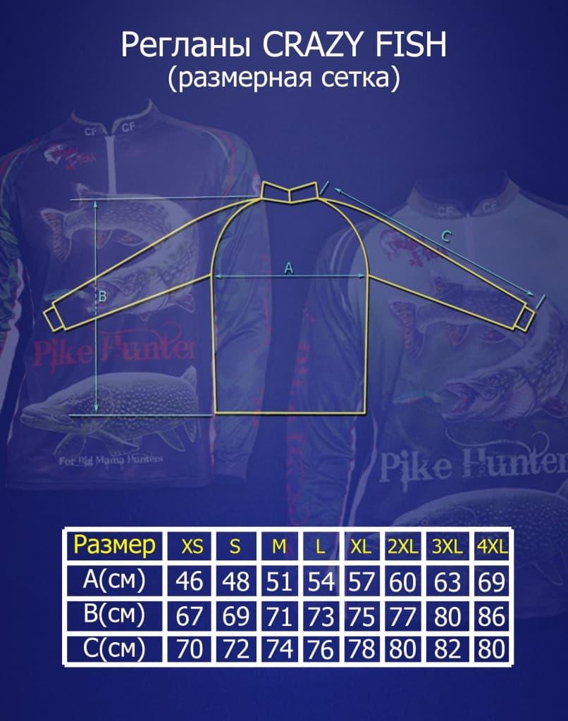 Таблица подбора размеров одежды Crazy Fish