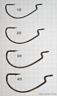 Офсетные крючки Jinza Worm BN в реальном размере